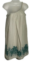 BCBGeneration Womens Sundress Small Braided Shoulder Beige Floral Embroidered S $14.99
