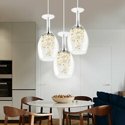Crystal Glass Shade Pendant Lamp Chandelier Fixtures 3 Light Living Dining Room $94.00