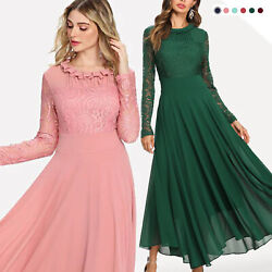 Aofur Women Long Sleeve Chiffon Maxi Dress Casual Floral Lace Evening Long Dress $33.98