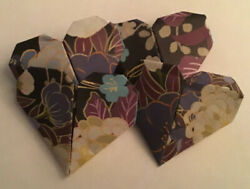 1 inch 4 tiny rare origami paper hearts handmade with original japanese paper $1.50
