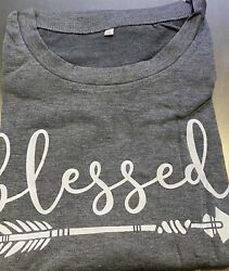 Summer Women Tops Blessed T Shirt Graphic Size 2XL $13.50