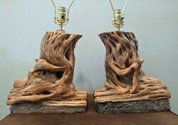 FABULOUS Large Vintage Lamps Pair Rare Mid Century Ceramic Driftwood Rustic Logs $695.00