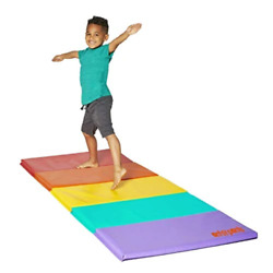 Antsy Pantsy Rainbow Kids Colorful Tumbling Gym Mat Folds For Easy Storage New $49.50