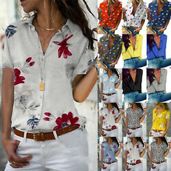 Plus Size Womens Floral Print Button Down Short Sleeve Blouse Shirt Casual Top $13.48