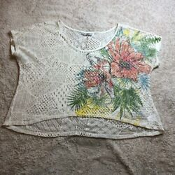 Maurices Womens Swim Cover Top Multicolor Floral Short Sleeve Crochet Plus 3 $13.99