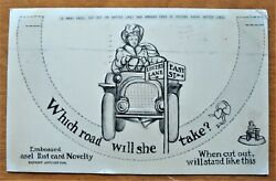 Lover's Lane or Easy Street Embossed Novelty Cut out Card Romance Humor Risque $4.99