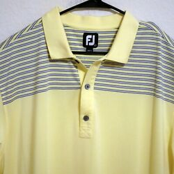 FootJoy Mens Short Sleeve Golf Polo Shirt 2XL Yellow with Gray White Stripes $28.00