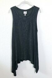 Knox Rose Black Tank Top Stripes Crochet Lace Boho Sleeveless Size XL $16.00
