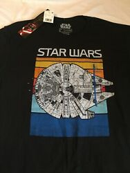 Large men#x27;s NWT Star Wars Millenium Falcon short sleeve black t shirt $14.95