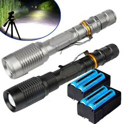2PCS 1000000Lumens Ultra Brightest Flashlight T6 LED Torch ZoomableBatteryChar $20.78