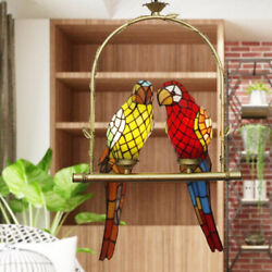 Stained Glass Couple Parrots Chandeliers Pendant Hanging Lamps Ceiling Fixtures $177.55