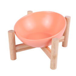 Elevated Dog Cat Pet Raised Bowl with Wooden Stand Water Food Feeding Station $19.85