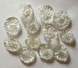 12 Vintage Clear Egyptian Chandelier Flowers for Mosaics Jewelry Flower Creation $9.95