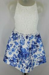 By amp; By Girls White Lace Bodice Blue Floral Sleeveless Party Dress Size 8 $16.99