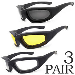 3PCS COMBO Chopper Padded Motorcycle Riding Glasses Wind Resistant Sunglasses $9.78