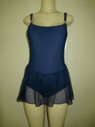NEW 1990s Sirena One Piece Swimsuit size 10 M skirted navy blue vintage $19.99