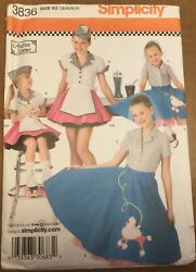 Simplicity Pattern 3836 UNCUT K5 Girls Poodle Skirt Diner Costumes Size 7 14   $7.99
