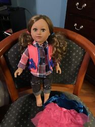 2013 Cititoy My Life 18quot; Doll Long Brunette green Eyes tan skin amp; Extra dress $14.99