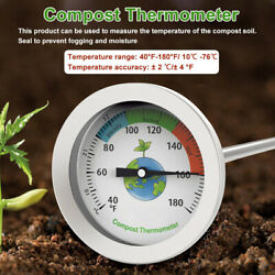 Dial Display Stainless Steel Compost Thermometer Portable Garden Soil Ground $17.91