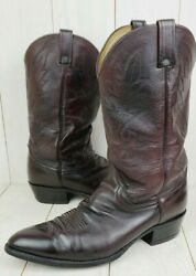 Dan Post Tooled Leather Cowboy Boots Mens 13 D Burgundy Style 112 R Made Texas $32.00