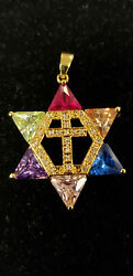 Star of David w cross necklace. Gold plated. Colors. Messianic Jewish Yeshua $35.00