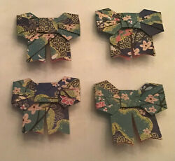 1 inch origami tiny rare 4 paper bows handmade with Japanese paper. $1.50