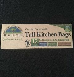 "Compostable Tall Kitchen Bags 11ct 13Gal ""If You Care"" Enviro Friendly Product $7.80"