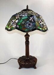 Vintage Table Lamp Tiffany Style Leaded Glass Jeweled Shade Large 23 1 4quot; TALL $165.00