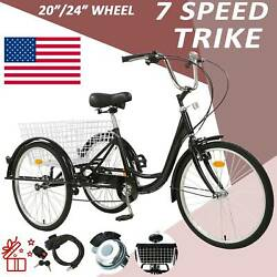 20quot; 24quot; 26quot; Adult 7 Speed Tricycle 3 Wheels Trike Bicycle With Shopping Basket $237.99