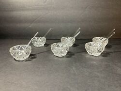 Vintage Crystal Glass Salt Cellars with Spoons Set of 6 Excellent Condition $39.99