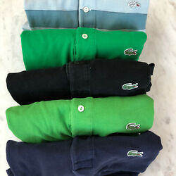 Lacoste size 5 mens Lot of two shirts black green stripped $47.77