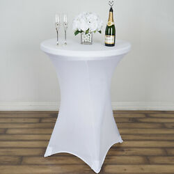 White COCKTAIL SPANDEX TABLE COVER Fitted Wedding Party Home Catering Tablecloth $11.00