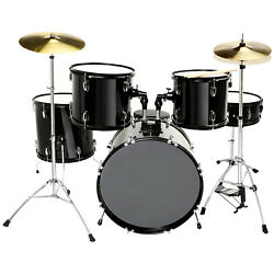 5 Piece Drum Set Full Size Cymbals Kit with Stool amp; Sticks Complete Adult Black $279.99