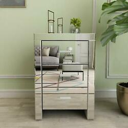 Mirrored End Table 3 Drawers Accent Side Table Silver Finished Nightstand Silver $184.99
