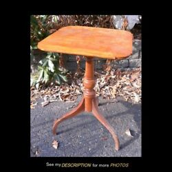 Antique Colonial American Primitive Cherry Spider Leg Candle Stand Cookie corner $325.00