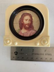 Vintage Mid Century Plastic Television TV Bank w Jesus On Screen $12.99