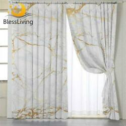Blackout Curtains Marble Patterned Window Treatments Home Modern Decorations New $59.99