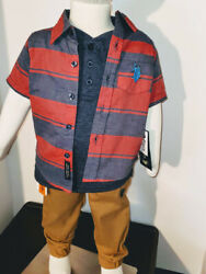 US POLO BOYS 3PC SHORT SLEEVE PULL ON PANTS SET SIZE 12MONTH MSRP $42 $21.00