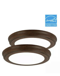 Commercial Electric 13quot; Brown Wood Color Changing LED Ceiling Flush Mount 2 Pack