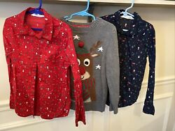 3 Piece Boys Christmas Holiday Sweater Button Up Lot Size 6 8 Hamp;M EUC $24.99