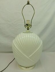 GLASS LAMP IVORY CREAM COLOR FAN FOLDED WRAP PATTERN BASE 13quot; TOTAL 23quot; NO SHADE $34.99