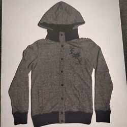 Fox Motocross Women#x27;s heathered gray Junior Seige Snap Hooded Jacket Size XS $20.00