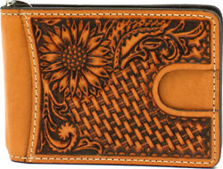 Nocona Western Mens Money Clip Bifold Leather Sunflower Tooled Weave N500013008 $39.95