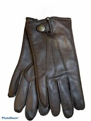 Men's Ugg Dark Brown Leather Touchscreen Compatible Gloves $95 $55.00