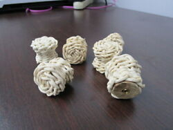 6 Unfinished Vintage Wicker Knobs Pull Cabinet Furniture with Hardware $9.95