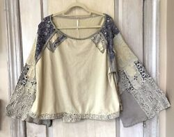Free People Thermal Top Mixed Print Tan Blue Wide Floral Sleeve Swing L NEW $96.00