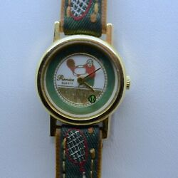 Vintage Collectible #x27;Ladies Tennis#x27; Novelty Watch Cloth Leather Band Ship USA $10.00