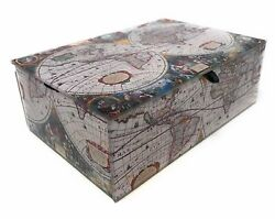 Value Arts Antique World Map Glass Keepsake Box 5.75 Inches Wide $36.10