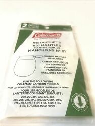 TWO COLEMAN LANTERN MANTLES #21 INSTA CLIP 1 PACK OF 2 2 MANTLES New C $9.99