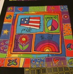 Novelty Kids cotton fabric panel pillow block pair FLAG PEACE 15quot; set Hippy $5.00